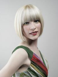 """Full Lace Bobs Chin Length Straight 10"""" Platinum Blonde Designed Fashion Wigs"""