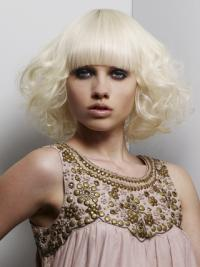 """Full Lace With Bangs Chin Length Wavy 12"""" Platinum Blonde Modern Fashion Wigs"""