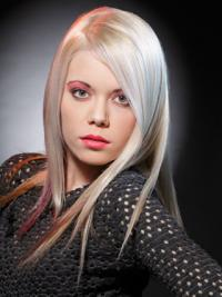 """Lace Front Without Bangs Long Straight 16"""" Platinum Blonde Good Fashion Wigs"""
