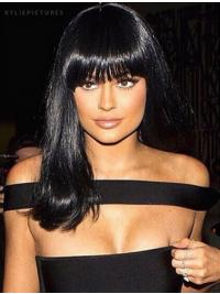 "Style 14"" Long Straight With Bangs Lace Front Kylie Jenner Wigs"