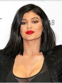 """Popular 14"""" Shoulder Length Straight Bobs Full Lace Kylie Jenner Wigs"""