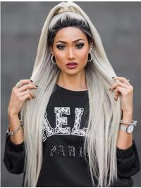 "38"" Lace Front Long Synthetic Grey Without Bangs Wigs"